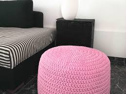 light pink crochet pouf ottoman nursery foot stool pouf