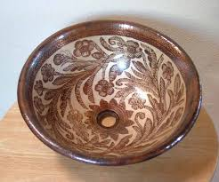 Copper Bathroom Vanity by Mexican Hand Painted Copper Sink Copper Vessel Sink Bathroom
