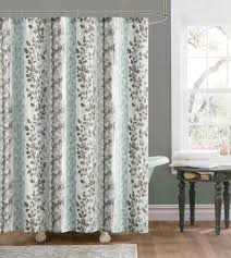 amazon com blue and brown embossed fabric shower curtain floral