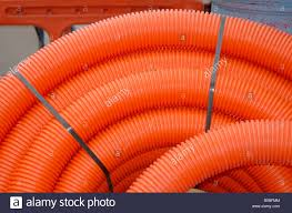 Electric Cable Coiled Orange Corrugated Plastic Tubing For Burying Electric Cable