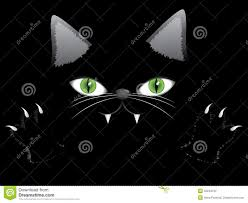 cartoon halloween background black cat face with paw stock photography image 32244132