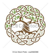 illustration of celtic tree of color version vector