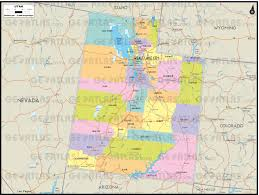 Utah Counties Map Geoatlas Us States Utah Map City Illustrator Fully