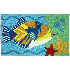 Fish Bath Rug Humuhumu Hawaiian Fish Rug Tropical Throw Carpet Bath Mat