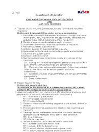 How To Do A Basic Resume Duties And Responsibilities Of Teachers And Master Teachers