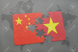 World Map Vietnam by Puzzle With The National Flag Of China And Vietnam On A World
