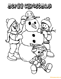 children making christmas snowman coloring free coloring