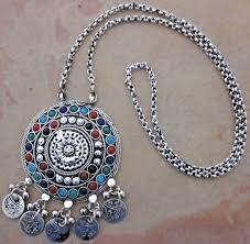long pendant necklace vintage images Vintage chain pendant long statement afghan necklace fashion jpg