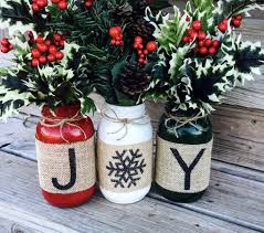 christmas holiday burlap mason jars set of 3 burlap mason jars