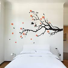 cherry blossom tree branch with birds vinyl wall decal