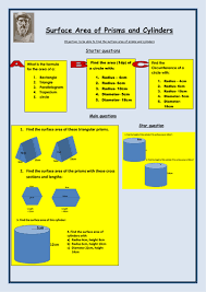 surface area of cuboids and prisms worksheet by bcooper87