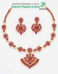 gold earrings necklace images 22k gold ruby necklace drop earrings set jpg