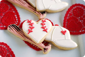 baseball valentine cookies bake at 350