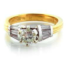 yellow gold wedding band with white gold engagement ring 14kt yellow and white gold 0 69ct diamond engagement ring more
