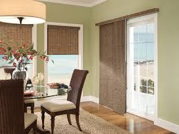 contemporary dining room with patio doors with windows blind and