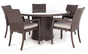 delia round glass top outdoor patio dining table for 5 to 8 people