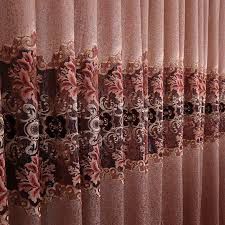 Peach Floral Curtains Embroidery Lace Polyester Floral Curtains