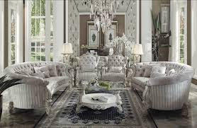 White Living Room Set Versailles Button Tufted Ivory Velvet Bone White Finish Living