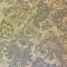 Drapery And Upholstery Fabric Toile Bird Floral Large Scale Spa Blue Heavy Cotton Fabric Drapery