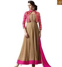designer dress lovely pink and beige anarkali designer dress with jacket style slmug1