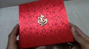 Ganpati Invitation Card In Marathi Invitation Card In Red Satin With Wooden Ganesh Ji Lotus Card