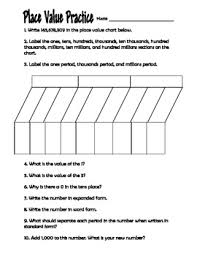 place value practice worksheet 4th grade by clowning around in