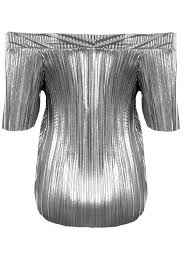 stretch foil womens shoulder sleeve bardot party stretch foil pleated