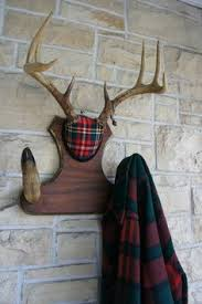 Christmas Decorations Using Deer Antlers by Vintage Deer Antler Mount Plaid Christmas Decor By Upscaledownhome