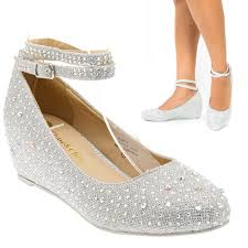 wedding shoes low wedges silver ankle low wedge heel bridal