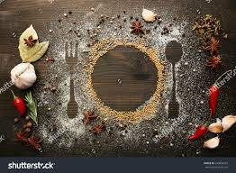 On Table by Spices On Table Cutlery Silhouette Closeup Stock Photo 230856043