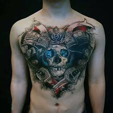 photo collection warrior chest tattoo