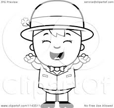 cartoon clipart of a black and white cheering child leprechaun boy