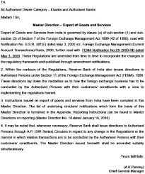 Self Certification Notification Letter Master Direction Export Of Goods And Services