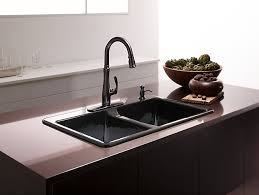 brown kitchen sinks double top mount farmhouse kitchen sink on brown granite inside