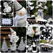 black u0026 white snowman holiday table u0026 diy garland trees pizzazzerie