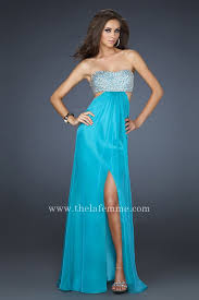 clic sequin la femme 16291 teal cutout long strapless prom dresses