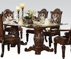 Dining Room Table Top Acme Vendome Double Pedestal Dining Table With Glass Table Top In