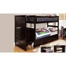 Discovery World Furniture Premium Espresso Staircase Twin Over - Espresso bunk bed