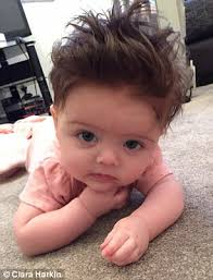 wavy hair after three months parents reveal their babies with full heads of hair daily mail