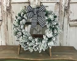 flocked wreath etsy