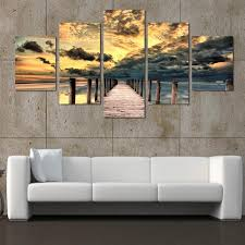 5 piece seascape wall art wooden bridge painting on canvas sunset
