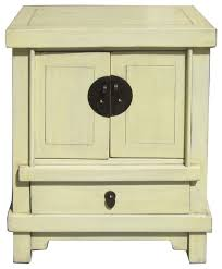 off white cream lacquer end table nightstand asian nightstands