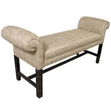 mid century modernist upholstered scroll arm bench in ebonized