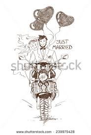 funny sketch illustration married couple stock vector