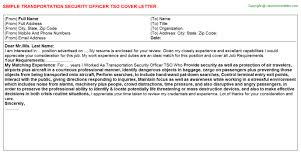transportation security officer tso cover letter
