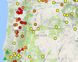 map of oregon showing madras oregon smoke information weekend air quality forecast for oregon