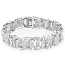 diamond bracelet silver images Mens silver diamond bracelet 7 45ct jpg