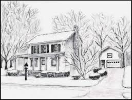 vermont house graphite pencil house sketch sample