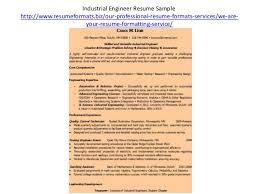 Industrial Engineer Resume Sample by Resume Formats