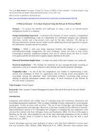 Seeking Wiki A Wiki As Intranet A Critical Analysis Using The Delone Mclean